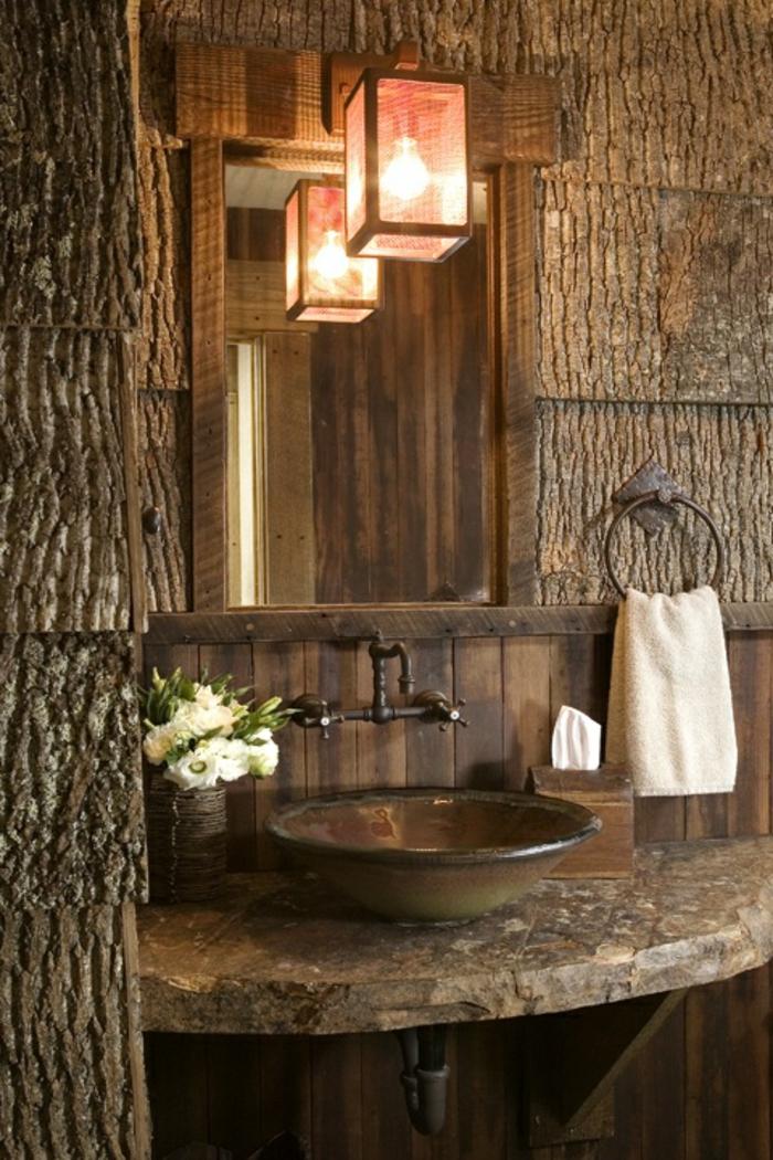 Carrelage Salle De Bain Vintage : salle-de-bain-rustique-en-bois-foncé-lampe-miroir-dans-la-salle-de …