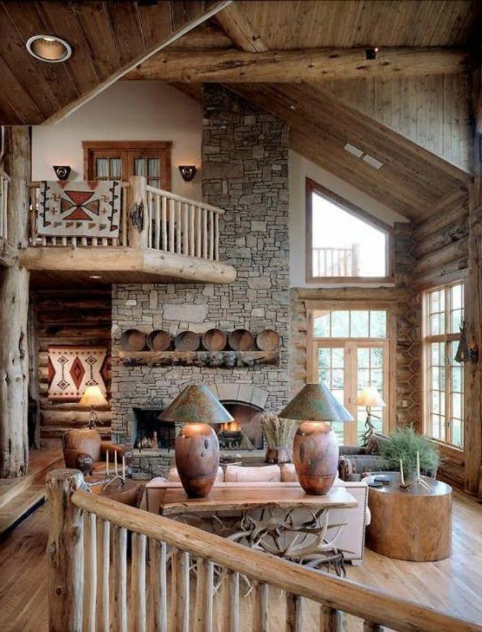 salon-bois-massif-meubles-cheminée-d-intérieur-pierre-mur-escalier-en-bois