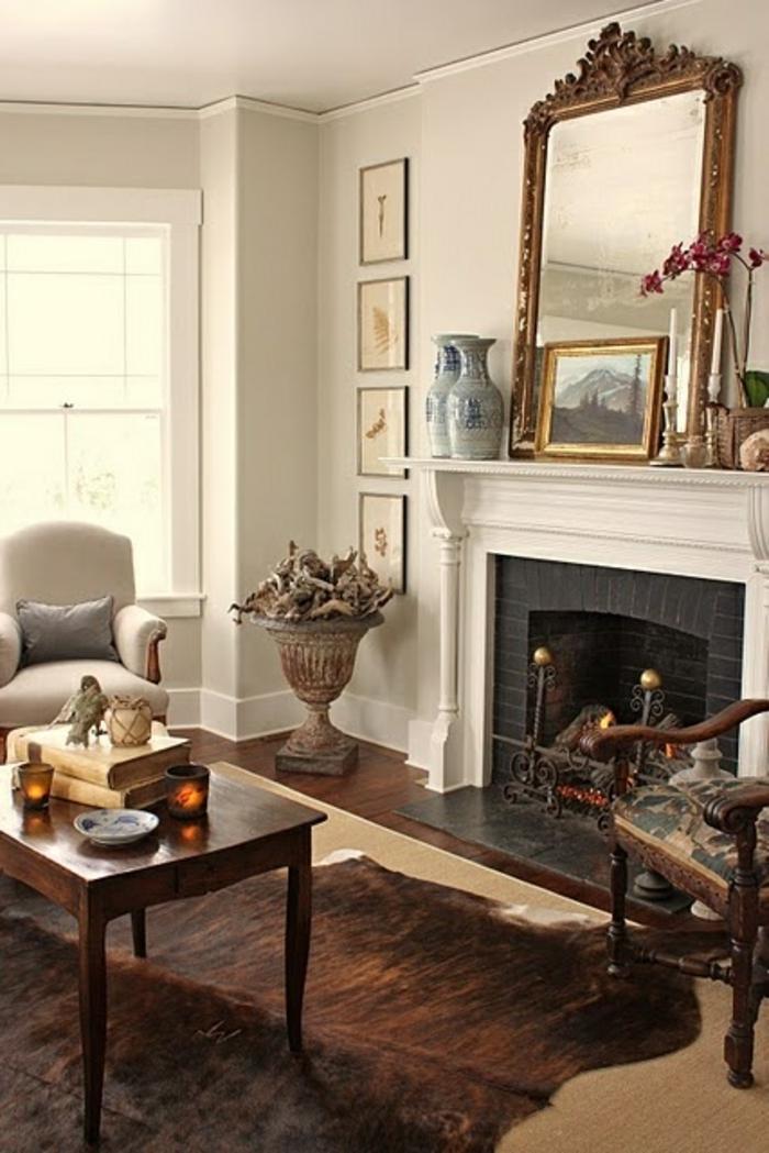 salon-de-luxe-tapis-en-peau-de-bete-marron-table-de-salon-basse-fauteuil-beige