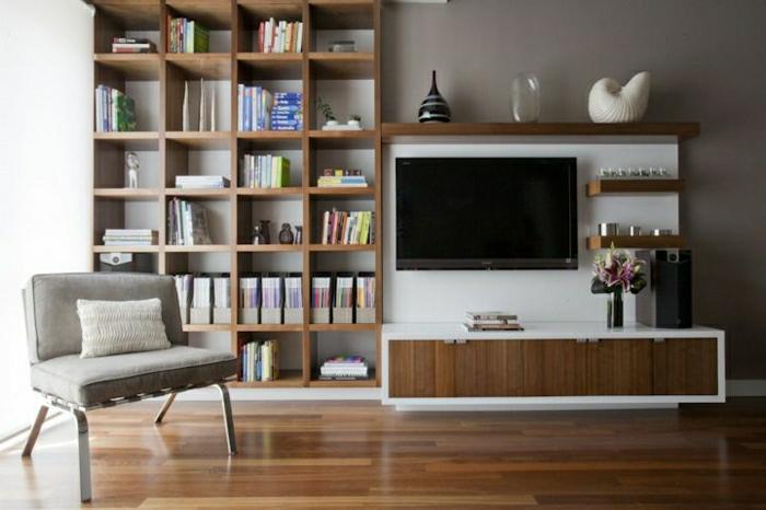 salon moderne en bois bibliothque murale meuble tl - Meuble De Salon Moderne En Bois