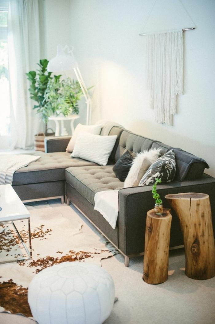 salon-moderne-tapis-en-peau-de-vache-moderne-chambre-pleine-de-lumière-plante-verte