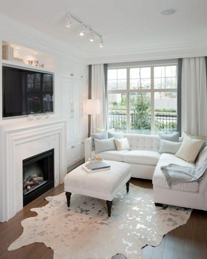 salon-sol-avec-tapis-en-peau-blanc-parquet-marron-foncé-canapé-blanc-coussins-intérieur