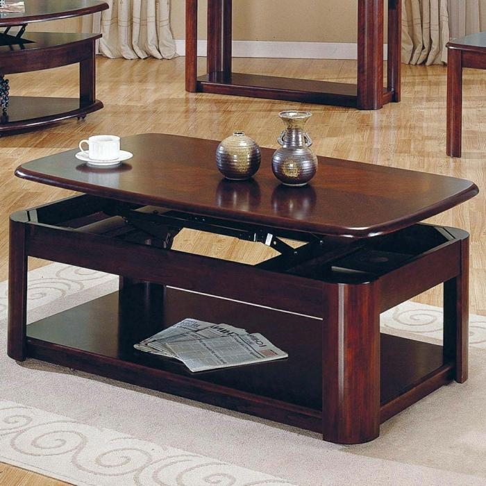 table-basse-convertible-salle-de-séjour-bois-brune-tapis-classique
