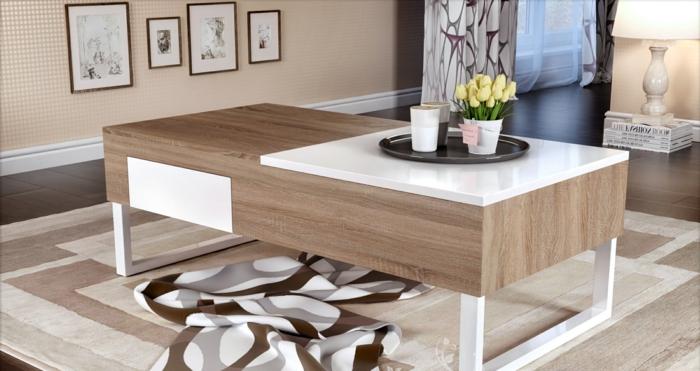 table-basse-extensible-relievable-deux-niveaux-blanc-et-bois