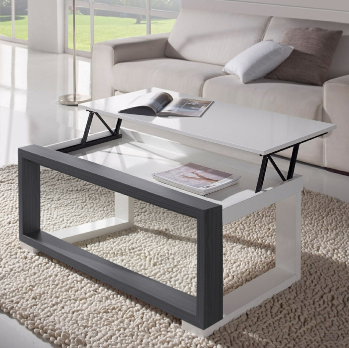 table-basse-extensible-relievable-tapis-canapé