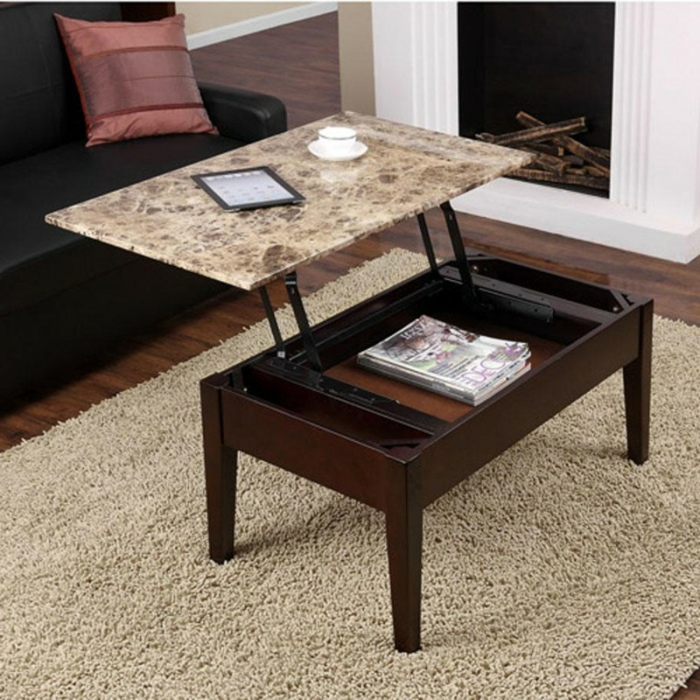 La table basse relevable pour votre salon fonctionnel for Table extensible marbre