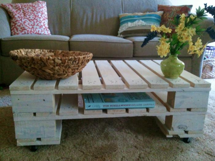 La table basse palette 60 id es cr atives pour la fabriquer - Fabriquer une table basse en bois ...