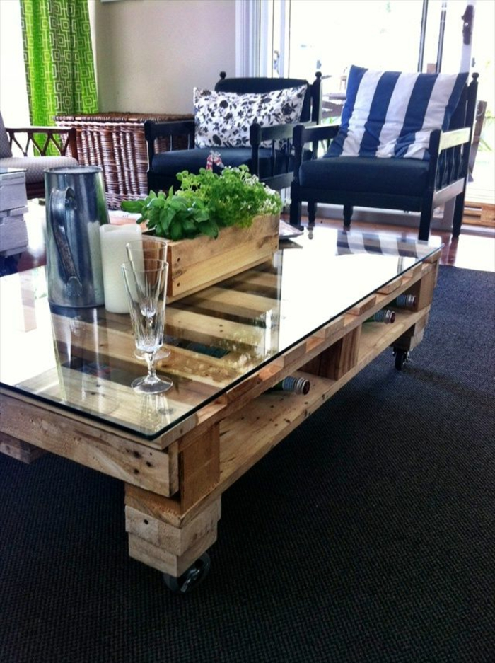 table-basse-palette-meuble-idées-plante-verte