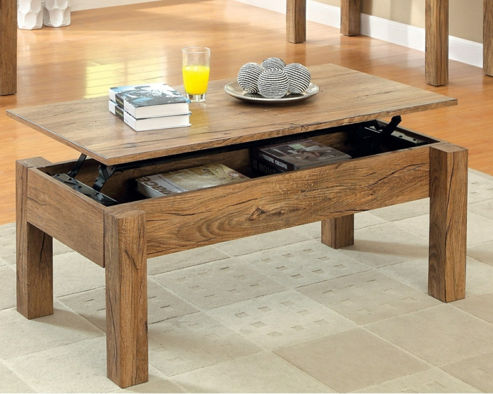 La table basse relevable pour votre salon fonctionnel for Table basse bois relevable