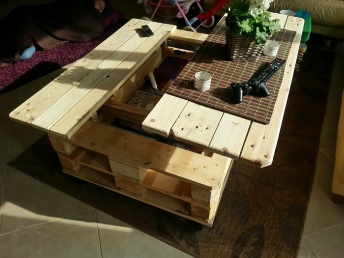 La table basse relevable pour votre salon fonctionnel - Faire une table industrielle ...
