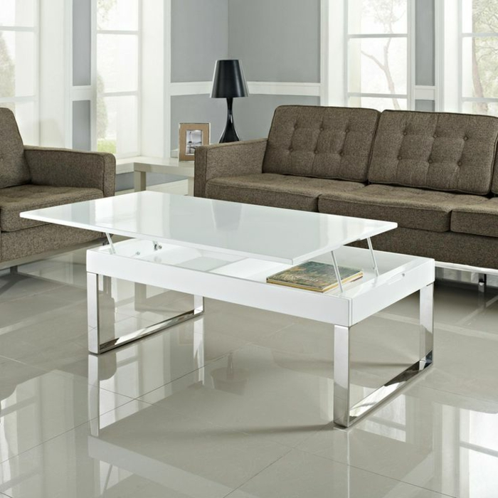 La table basse relevable pour votre salon fonctionnel for Table sejour design