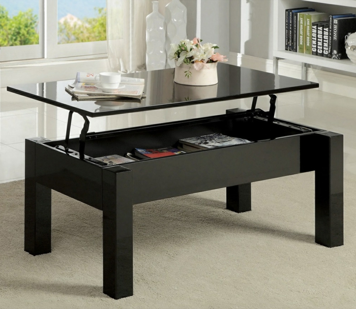 La table basse relevable pour votre salon fonctionnel for Table basse relevable noir