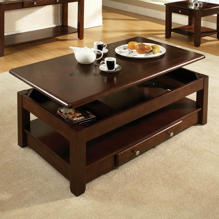 La table basse relevable pour votre salon fonctionnel - Table basse convertible en table a manger ...