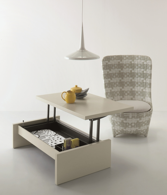 La table basse relevable pour votre salon fonctionnel - Table salon modulable hauteur ...