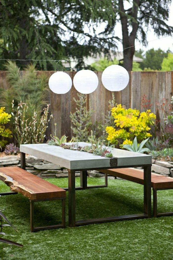 table-de-pique-nique-pelouse-vert-table-de-jardin-pique-nique-cour-moderne
