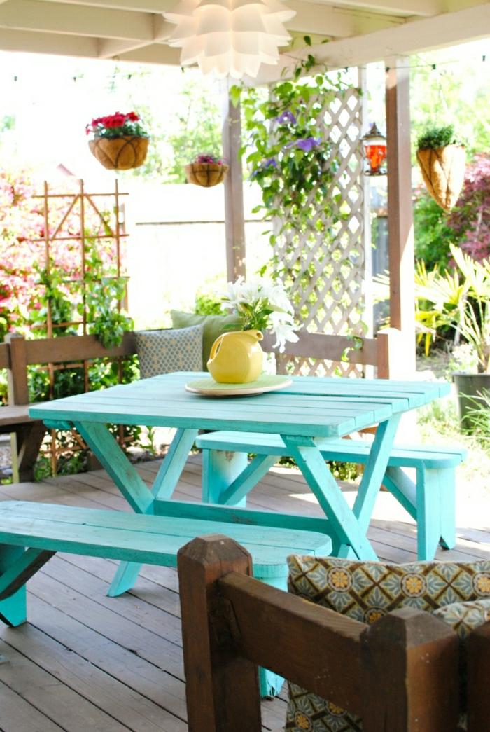 table-de-pique-nique-table-avec-banc-en-bois-de-couleur-en-bois-bleu