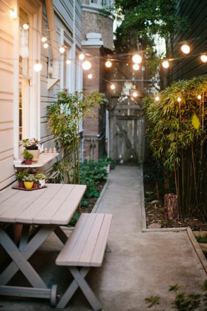 table-de-pique-nique-table-avec-banc-en-bois-table-de-jardin-cour-moderne