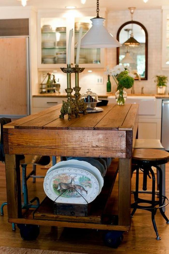 Mobilier de cuisine en bois massif meuble indus dserte de for Mobilier de cuisine moderne