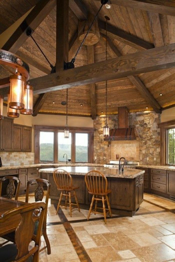 table-haute-salle-a-manger-de-style-rustiques-carrelage-chaises-en-bois-fenetre-belle-vue