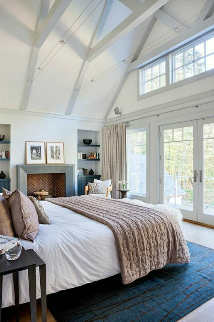 Chambre Jungle Fly : idées à lits attrayante, chambre mansardée bleu : vaste chambre …