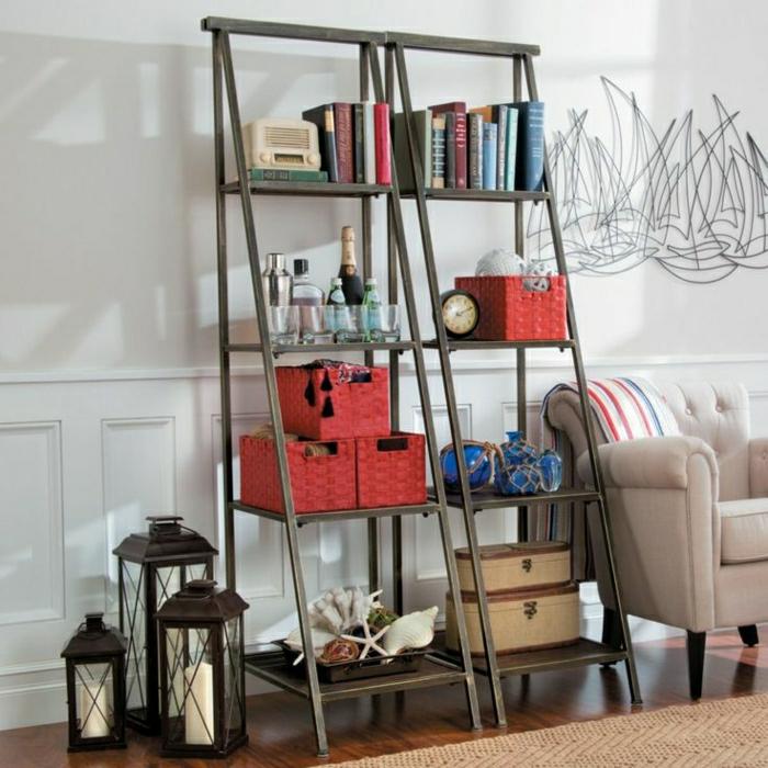 étagères-métalliques-étagère-échelle-noire-et-trois-lanternes-décoratives