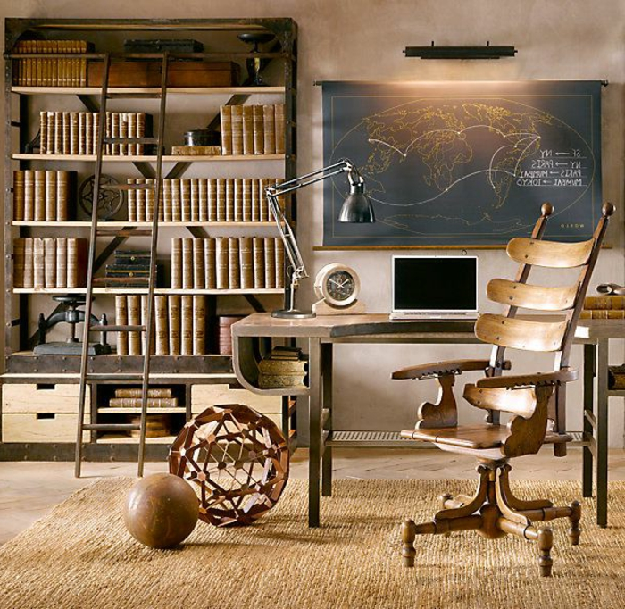 étagères-métalliques-étagère-métallique-design-bureau-et-chaises-industrielles