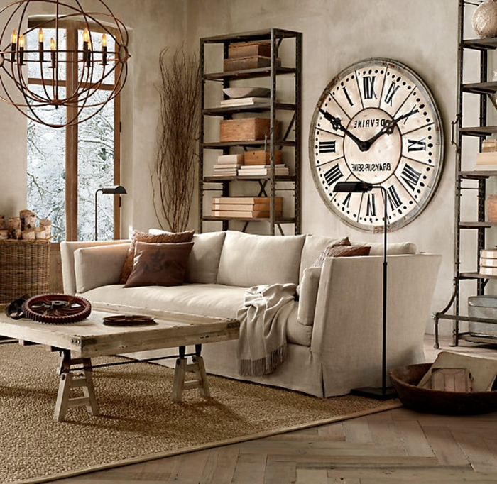 étagères-métalliques-décor-superbe-horloge-murale-ancienne