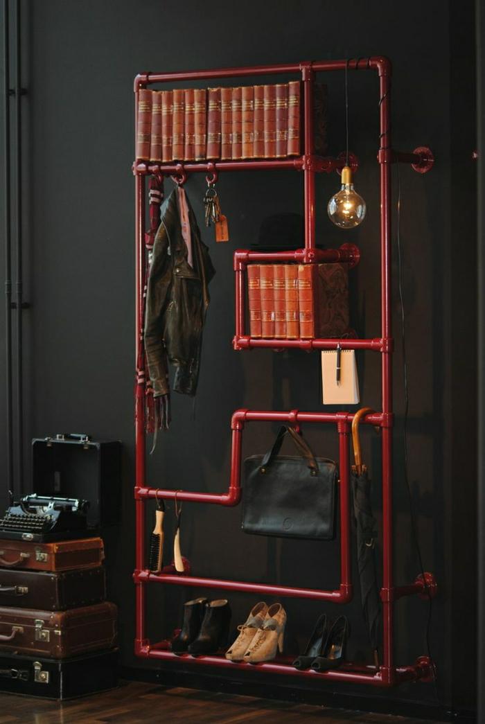 étagères-métalliques-design-brut-industriel-couleur-rouge