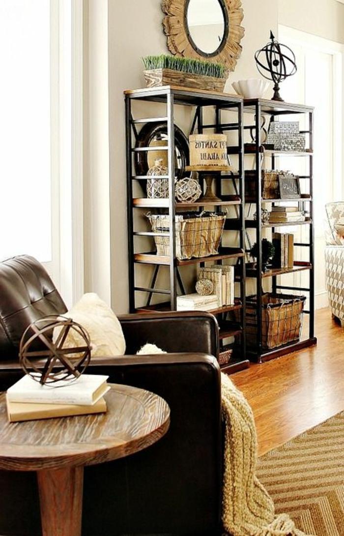 étagères-métalliques-l'esprit-loft-dans-l'appartement-moderne