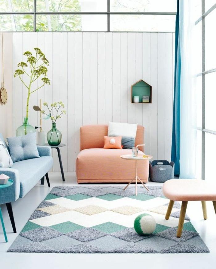 salon blanc gris vert amnagement salon conseils et ides pour - Bleu Attu Salon