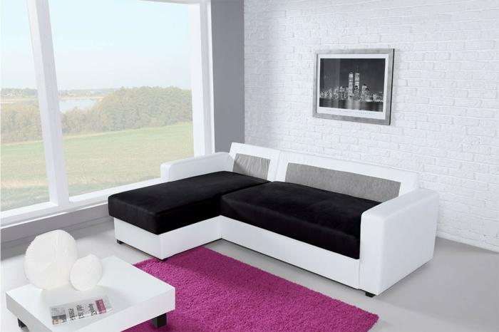 1-canapé-fluton-tapis-violet=méridienne-convertible-blanc-noir-intérieur-chic-et-moderne