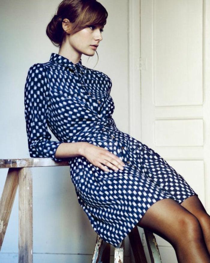 1-robe-chemise-elegante-robe-a-points-blanc-robe-bleu-foncé-femme-moderne