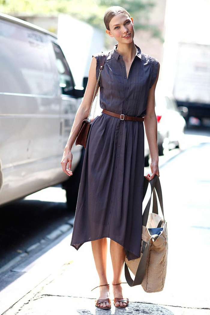 1-robe-chemise-elegante-robe-mi-longue-femme-moderne-robe-violet-sandales-d-ete