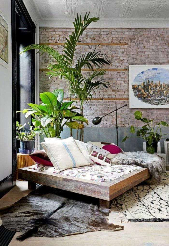 1-salon-de-style-feng-shui-plante-vert-dans-le-salon-mur-de-briques