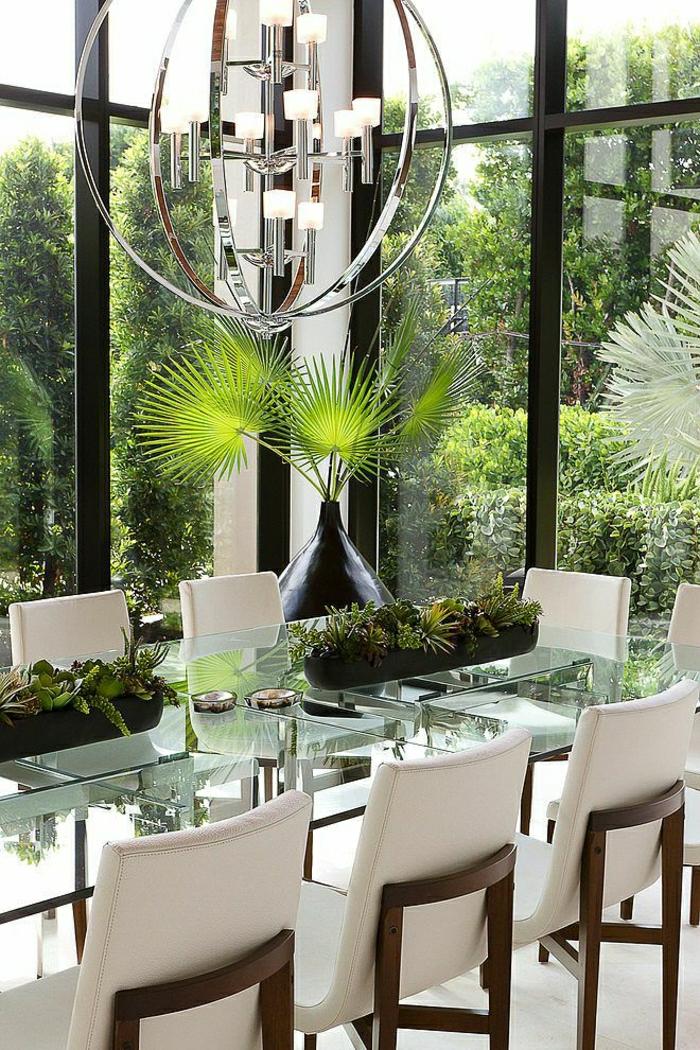 1 table rectangulaire en verre table de cuisine - Plateau Pour Table De Cuisine