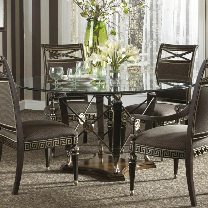1-table-ronde-en-verre-plateau-de-table-en-verre-noir-chaises-de-table-dans-la-cuisine