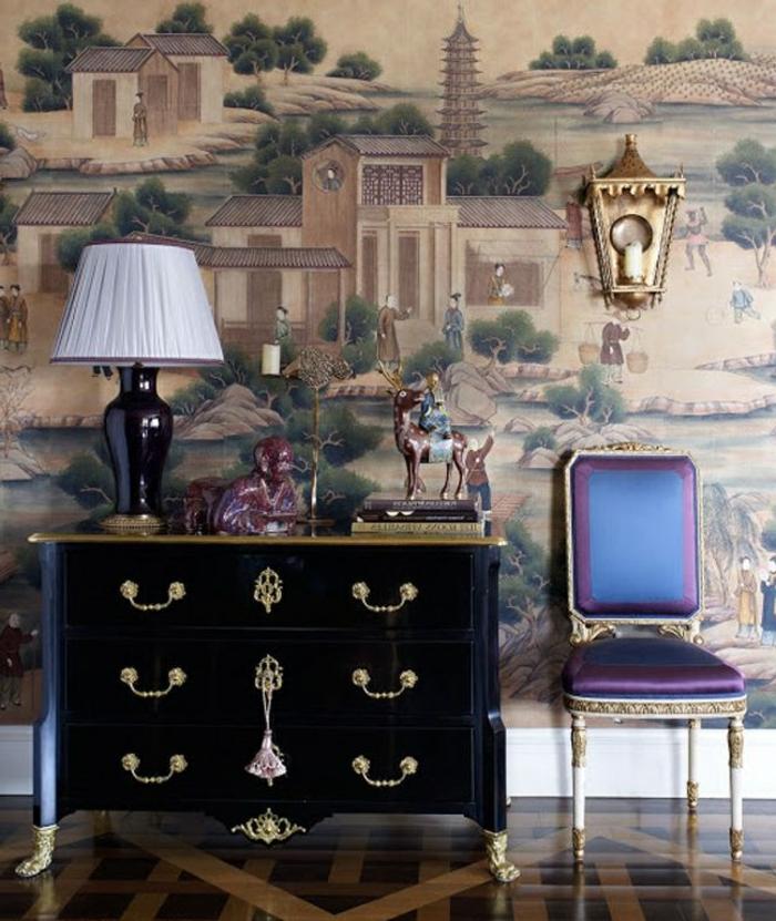 2-bahut-noir-laqué-salon-stylé-chique-baroque-mur-décoré
