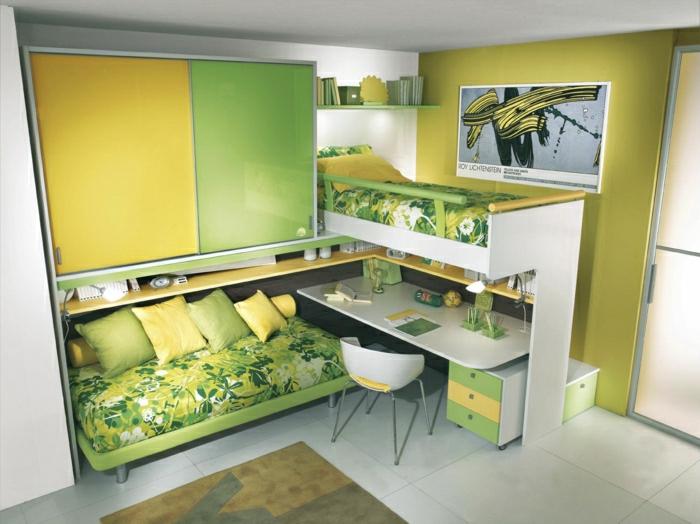 2-lit-enfant-sureleve-chambre-d-enfant-meubles-dans-la-chambre-d-enfant-mur-coloré