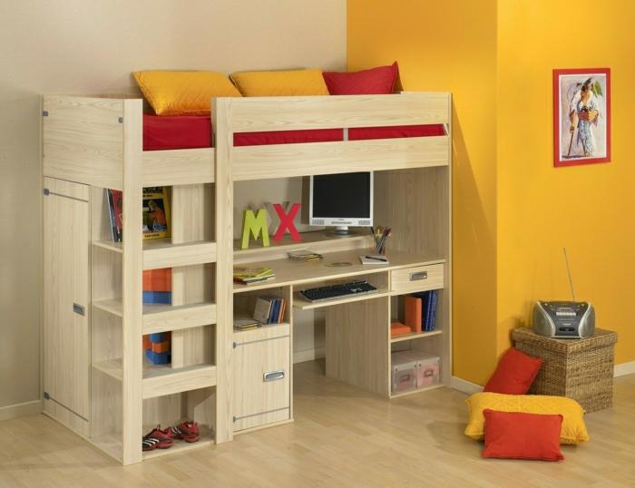 2-lit-enfant-sureleve-chambre-d-enfant-meubles-dans-la-chambre-d-enfant-mur-jaune-lit-mezzanine