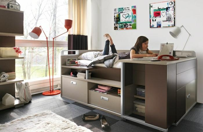 2-lit-enfant-sureleve-lit-superposé-meubles-de-la-chambre-d-enfant-tapis-blanc