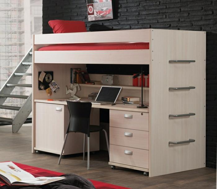 Le lit mezzanine ou le lit superspos quelle variante choisir - Lit mezzanine avec marche ...