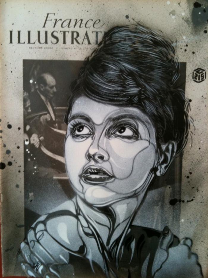 Art-urbain-C215-street-artiste-portrait-femme-blanc-et-noir