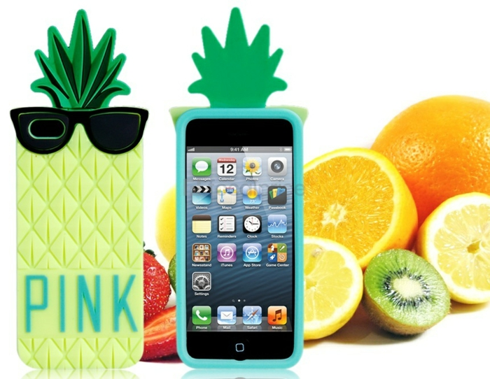 Coque-iphone-5s-personnalisée-pink-pinapple-ananas