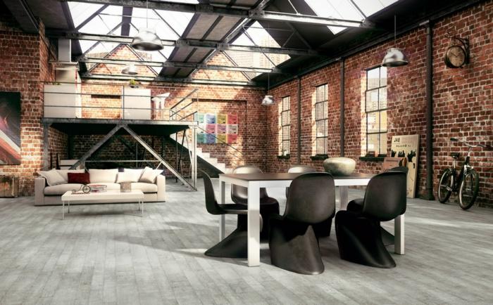 Idée-intérieur-design-industriel-style-canapé-beige-chaises-salle-à-manger