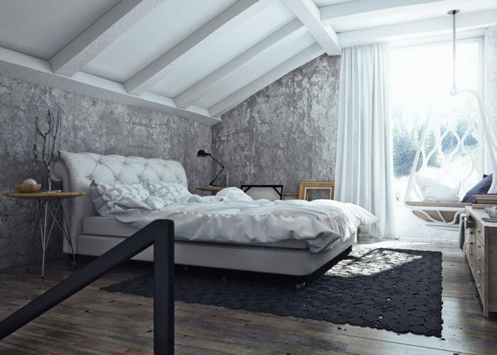 Le-chic-industriel-avec-meuble-moderne-lit-coussins-balançoire-fauteuil