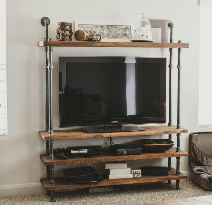 Le-meuble-tv-style-industriel-salle-de-séjour-étagère-bois-et-fer