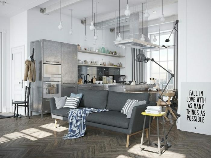 Loft-industriel-style-meuble-industriel-canapé-gris-sofa-confort