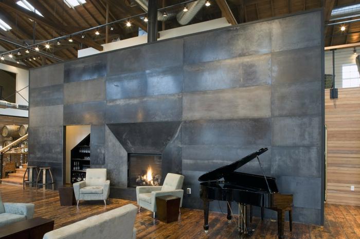 Loft-industriel-style-meuble-industriel-mur-métal-piano-dans-le-salon