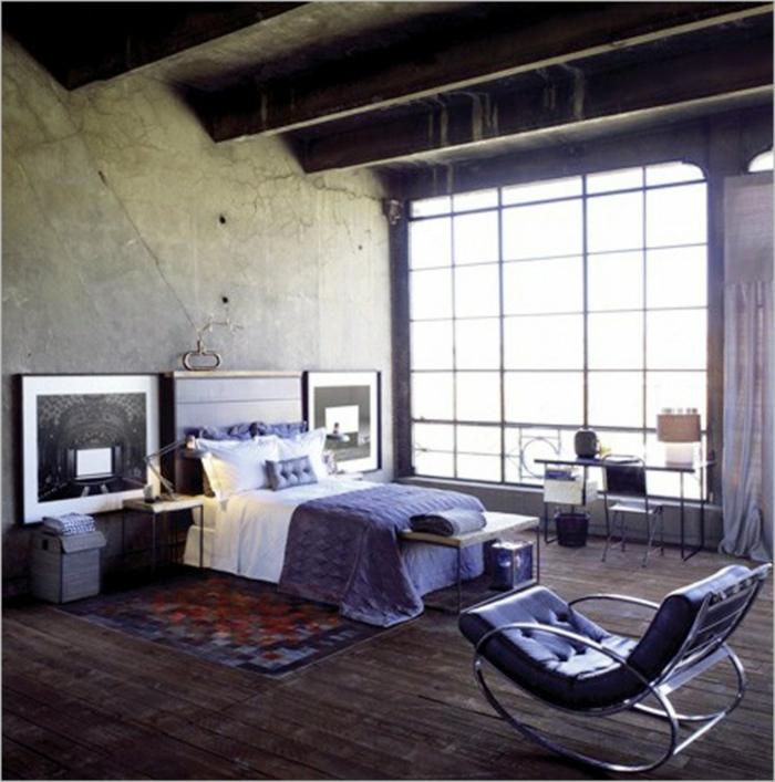 Salle-de-séjour-déco-industrielle-meubles-lit-fauteuil-cuir