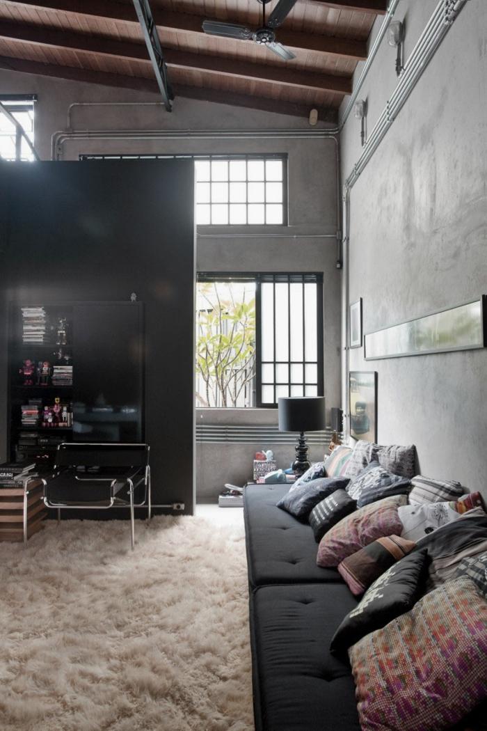 Salle-de-séjour-déco-industrielle-meubles-tapis-fluffy